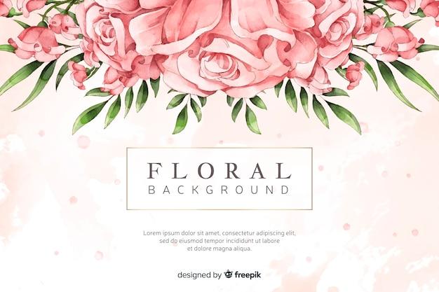 Sfondo naturale con fiori ad acquerelli Vettore gratuito
