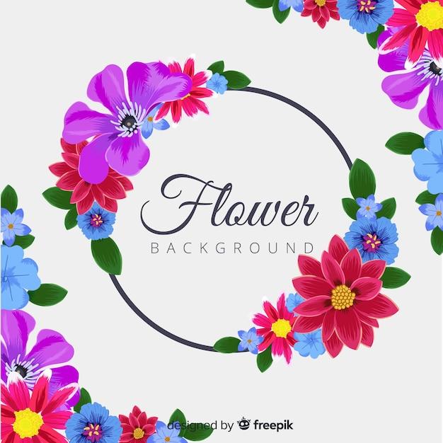 Sfondo naturale con fiori colorati Vettore gratuito