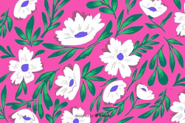 Sfondo naturale con fiori dipinti colorati Vettore gratuito