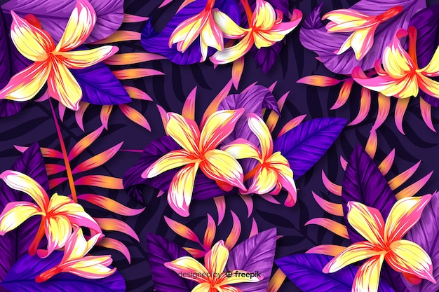 Sfondo naturale con fiori esotici colorati Vettore gratuito
