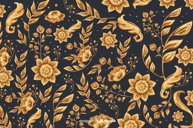 Sfondo naturale con fiori ornamentali dorati Vettore gratuito