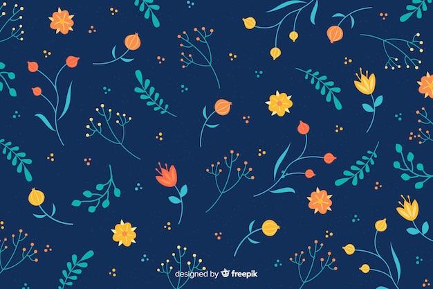Sfondo naturale con fiori piatti Vettore gratuito