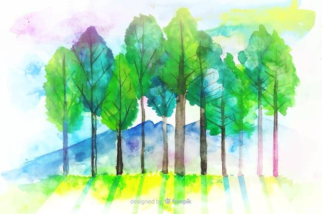 Sfondo naturale dell'acquerello con paesaggio Vettore gratuito