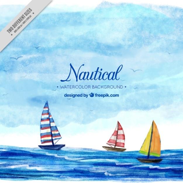 Sfondo nautico con barche, acquerelli Vettore gratuito