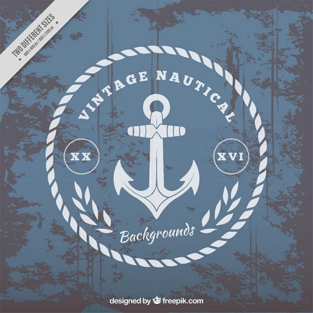 Sfondo nautico con l'ancora in stile vintage Vettore gratuito