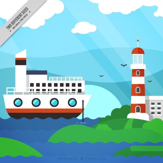 Sfondo nautico con una barca e un faro Vettore gratuito