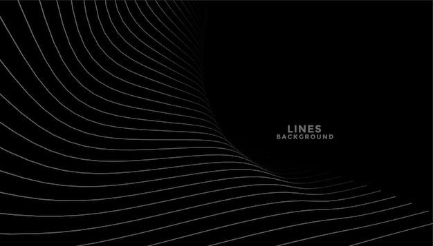 Sfondo nero con linee curve che scorre design Vettore gratuito