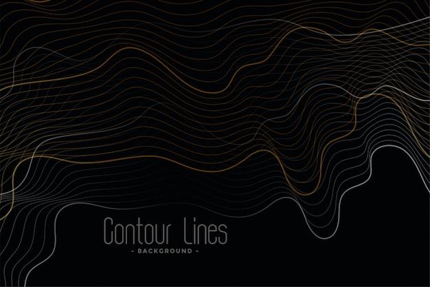 Sfondo nero con linee di contorno lucide Vettore gratuito