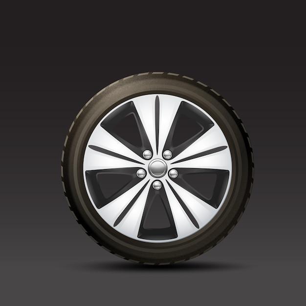 Sfondo nero di ruote auto Vettore gratuito