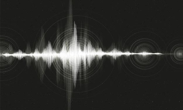 Sfondo nero digitale sound wave Vettore Premium