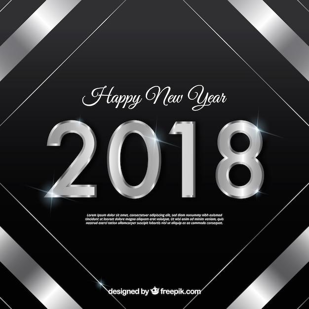 Sfondo nero nuovo anno con una cornice d'argento Vettore gratuito