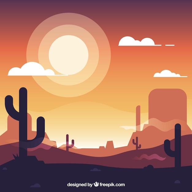 Sfondo occidentale piatto con cactus e il sole Vettore gratuito