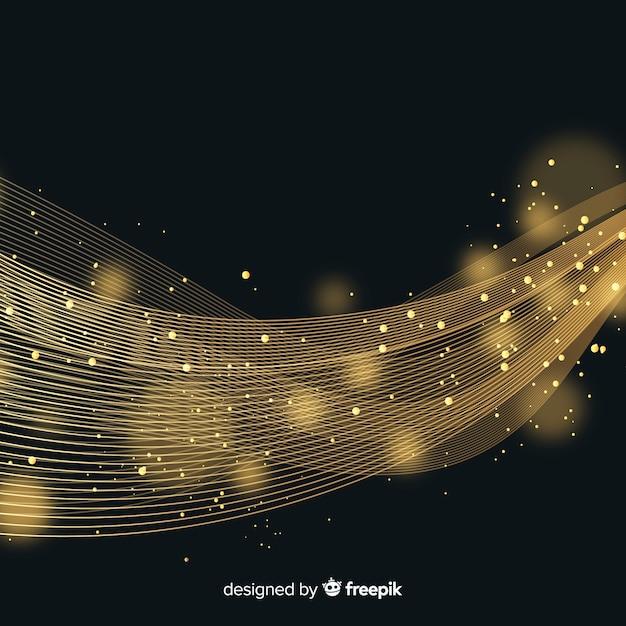 Sfondo onda d'oro lucido Vettore gratuito