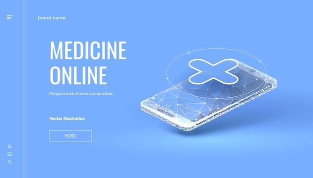 Sfondo online di medicina isometrica con stile wireframe poligonale Vettore Premium