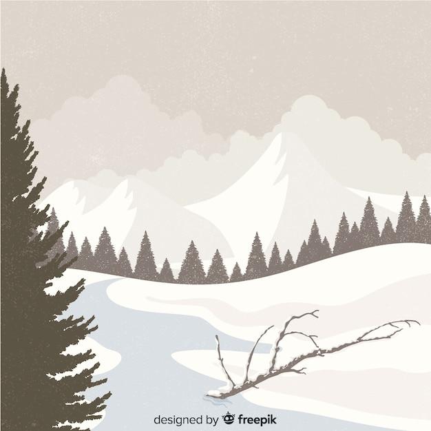 Sfondo paesaggio invernale Vettore gratuito