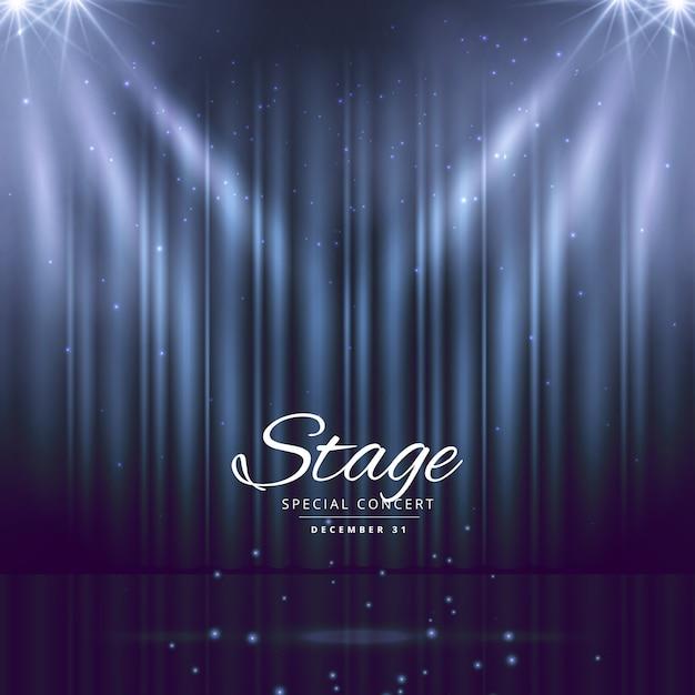 sfondo palco blu con le tende chiuse Vettore gratuito