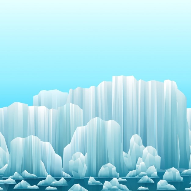 Sfondo parallax di iceberg e mare Vettore gratuito