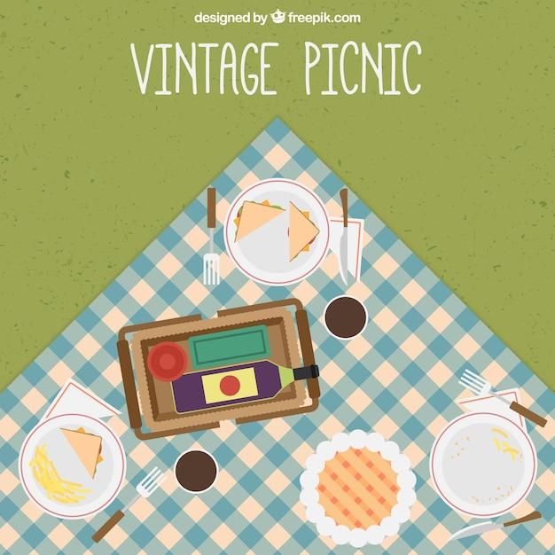 Sfondo pasto picnic d'epoca Vettore gratuito