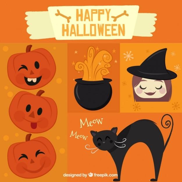 Zucca Halloween Gatto.Sfondo Per Halloween Con La Zucca Una Strega E Un Gatto Nero
