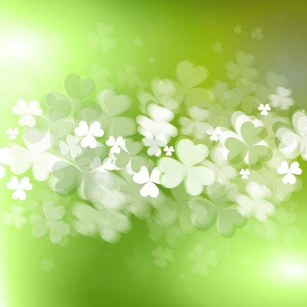 Sfondo per il giorno di saint patircks con trifoglio lucido o foglie di acetosella Vettore Premium