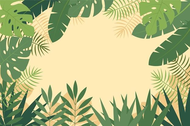 Sfondo per lo zoom con tema di foglie tropicali Vettore gratuito