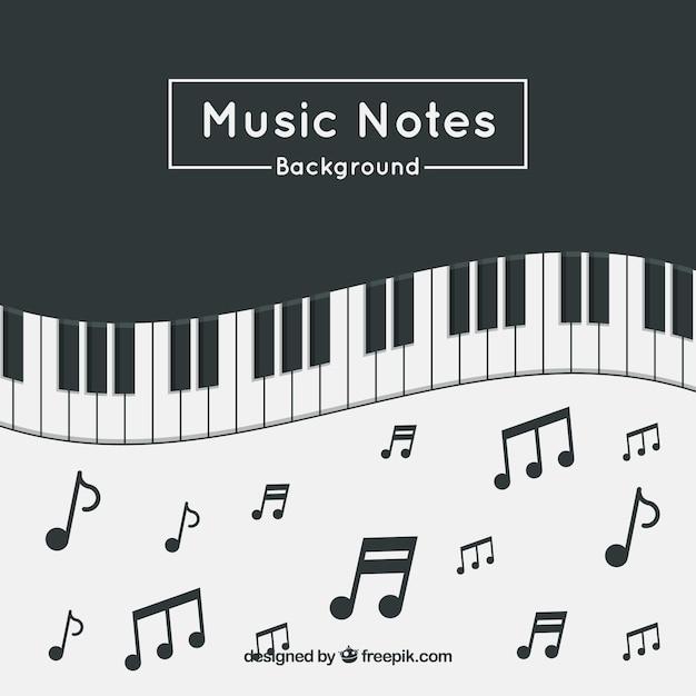 Sfondo piano con note musicali Vettore gratuito
