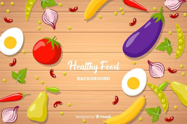 Sfondo piatto cibo sano Vettore gratuito