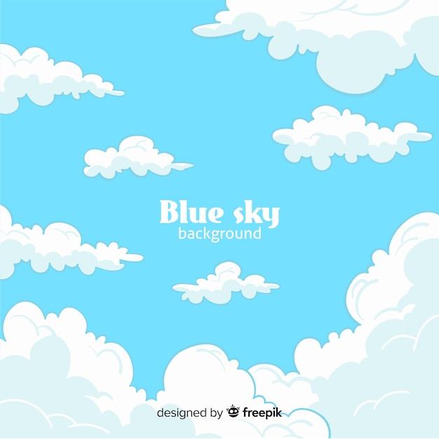 Sfondo piatto cielo blu Vettore gratuito