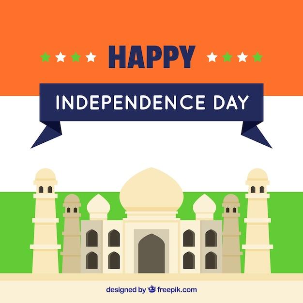 Sfondo piatto con taj mahal di india giornata di indipendenza Vettore gratuito