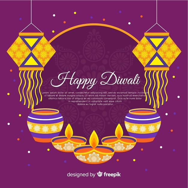 Sfondo piatto di diwali con candele Vettore gratuito