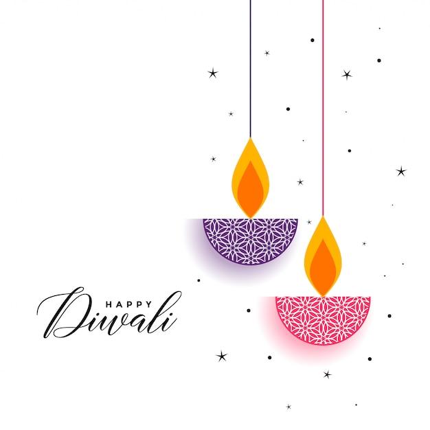 Sfondo piatto di diwali con diya decorativo Vettore gratuito