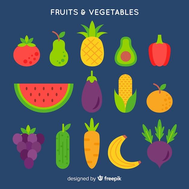 Sfondo piatto di frutta e verdura Vettore gratuito