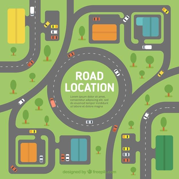 Sfondo piatto di road map con veicoli e alberi Vettore gratuito