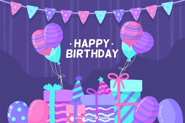 Sfondo piatto festa di buon compleanno Vettore gratuito