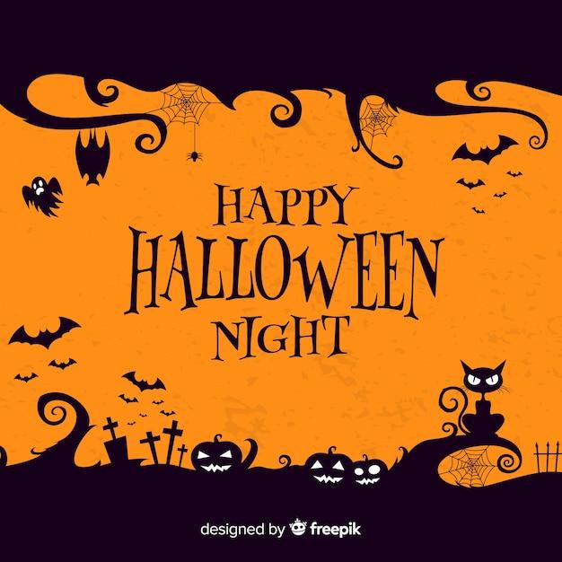 Sfondo piatto halloween con zucca arancia Vettore gratuito