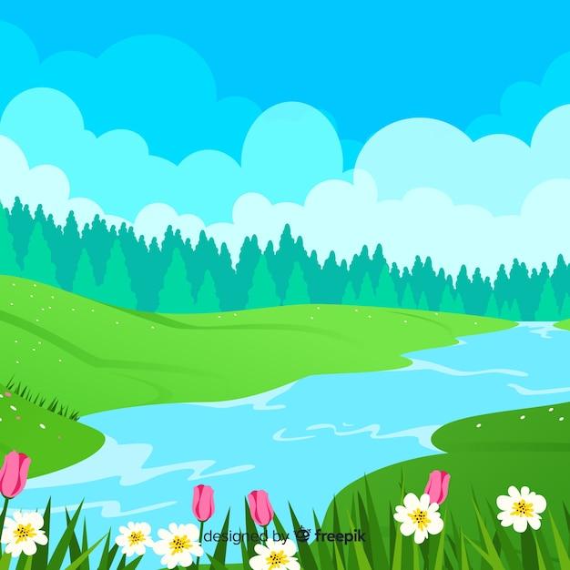 Sfondo piatto primavera Vettore gratuito