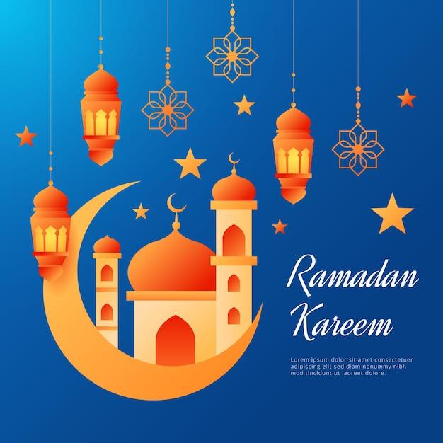 Sfondo piatto ramadan kareem Vettore gratuito