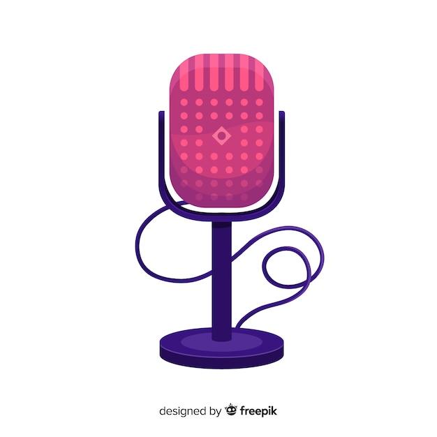 Sfondo piatto retrò microfono Vettore gratuito