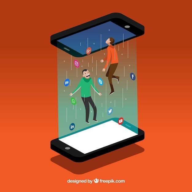 Sfondo piatto social media con il cellulare Vettore gratuito