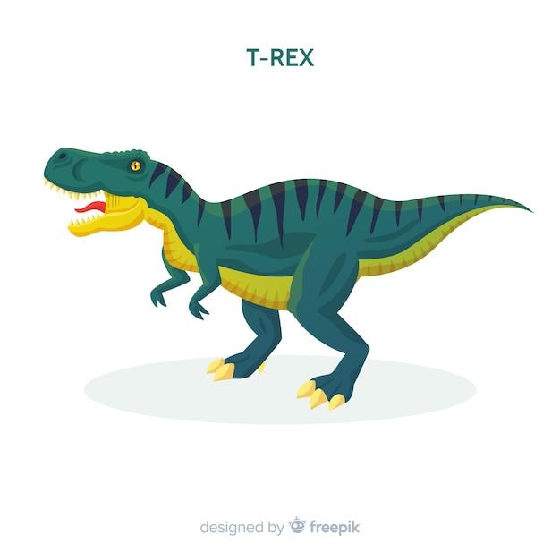Sfondo piatto t-rex Vettore gratuito