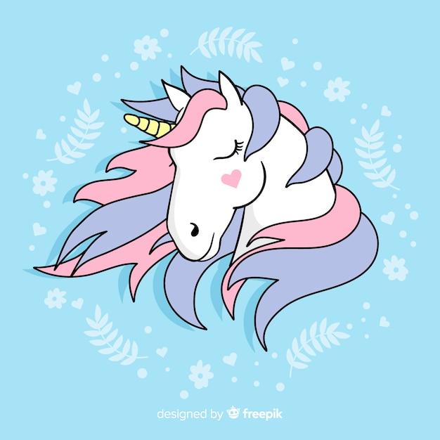 Sfondo piatto unicorno Vettore gratuito