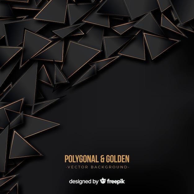 Sfondo poligonale scuro e dorato Vettore gratuito
