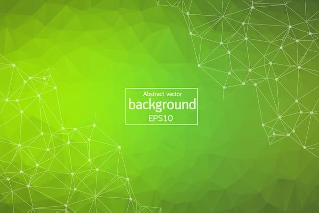 Sfondo poligonale verde geometrico Vettore Premium