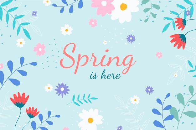 Sfondo primavera disegnata a mano con scritte Vettore gratuito