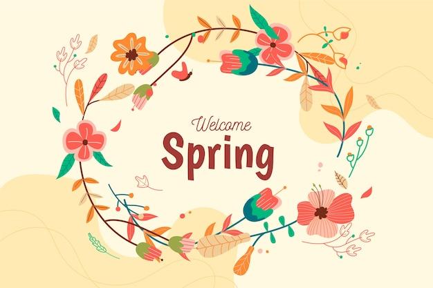 Sfondo primavera disegnati a mano Vettore gratuito