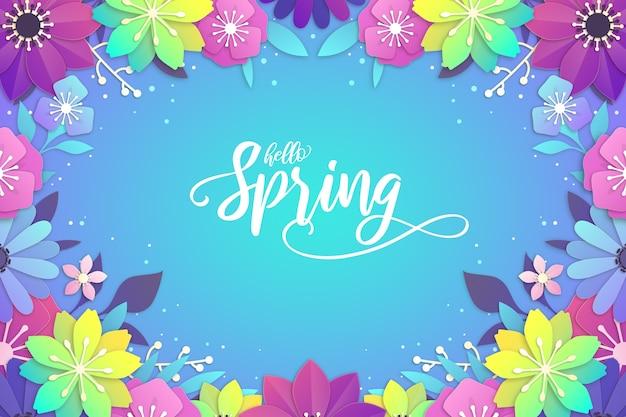 Sfondo primavera in stile carta colorata Vettore Premium