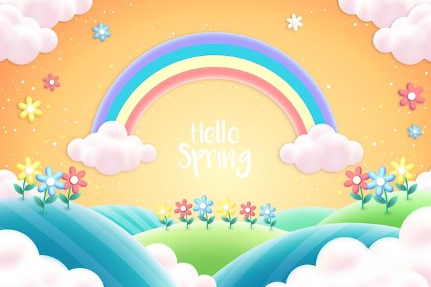 Sfondo primavera realistica con arcobaleno Vettore Premium