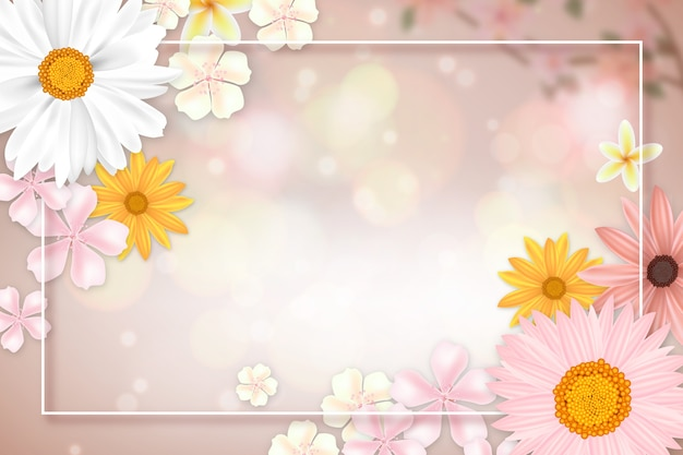 Sfondo primavera realistica con copia spazio e cornice Vettore gratuito