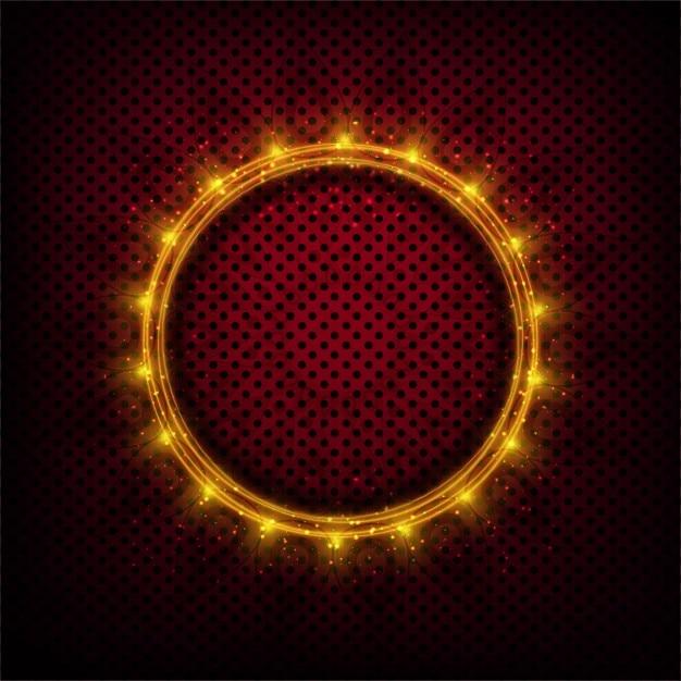 Sfondo puntini con il cerchio incandescente Vettore gratuito