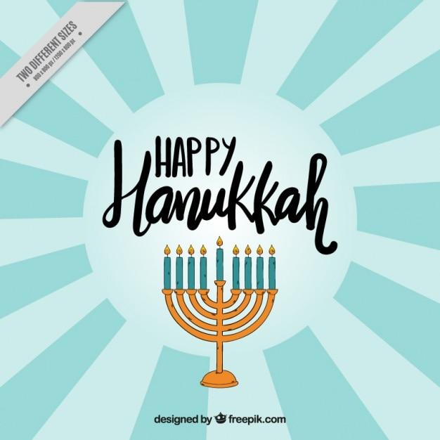 Sfondo raggera con candelabri di hanukkah Vettore gratuito